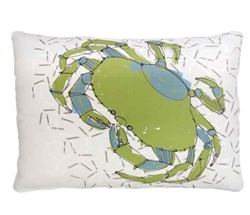 "Green and Blue Crab Modern Pillow 19"" x 24"""