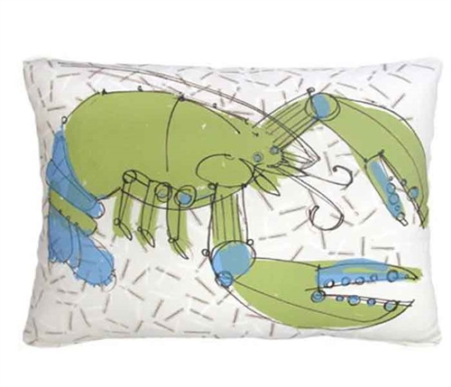 Green and Blue Crustacean Modern Pillows