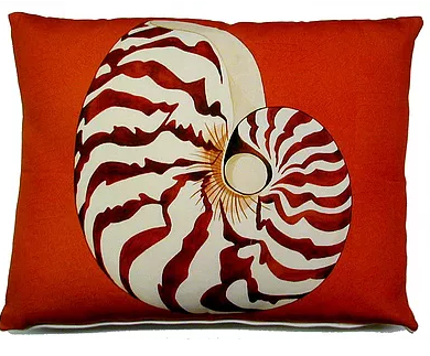 "Nautilus Shell Modern Pillow 18"" x 18"""