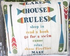 "Lake House Rules Modern Pillow 18"" x 18"""