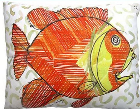 "Sun Fish Modern Pillow 18"" x 18"""