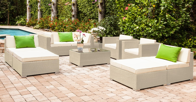 Awesome Gorgeous Modern Large Outdoor Sofa And Lounger Set