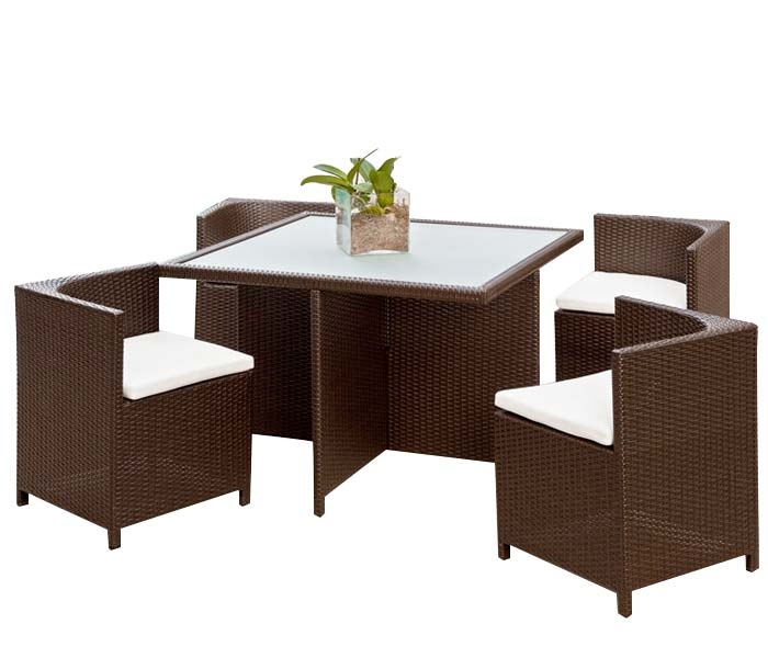 Menfi Modern Outdoor Dining Set In Espresso (with Off White Cushions)    SOLD OUT