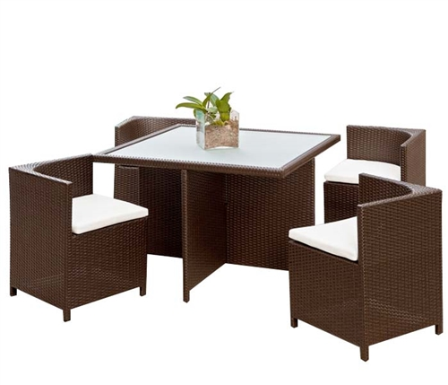 Menfi Modern Outdoor Dining Set in Espresso (with off-white cushions) - SOLD OUT