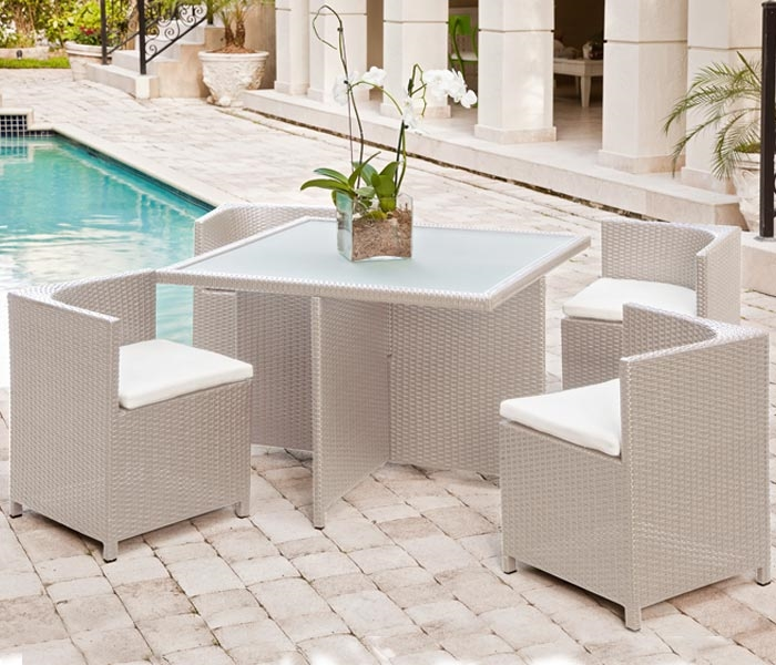 Modern Outdoor Dining Table Seats 4 Comfortable And Takes Very Little E