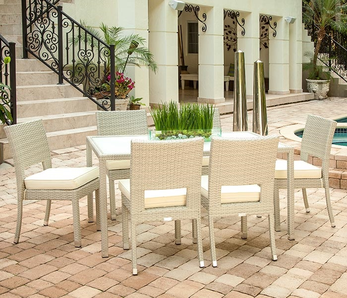 The Vito Outdoor Dining Set is for larger spaces in your back yard. Seats 6.