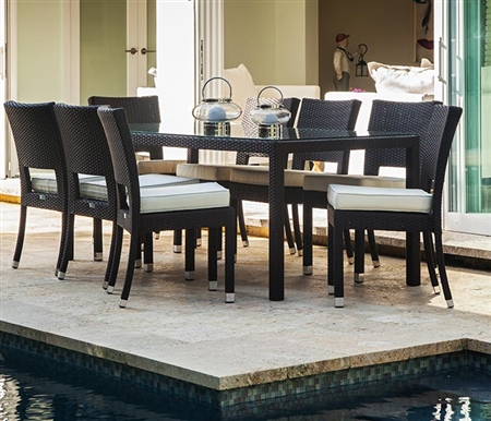 Siena Modern Outdoor Dining Set for 8 in Espresso with Frosted glass