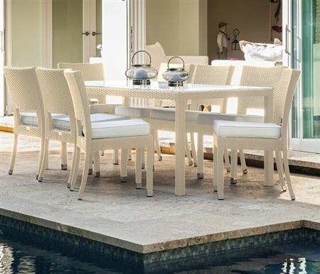 Siena Modern Outdoor Dining Set for 8 in Light Grey with Frosted glass