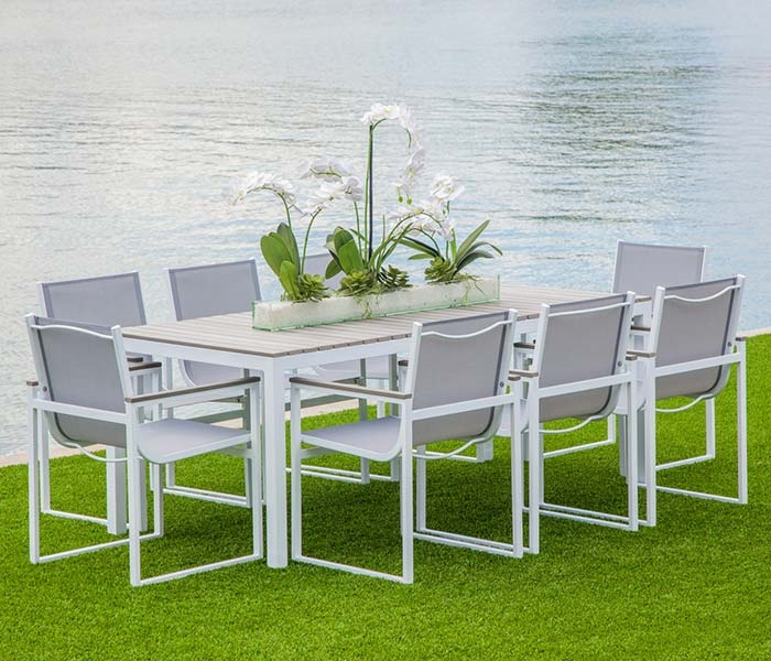 Modern Outdoor Dining Set White Aluminum and Grey Seats Seats 8