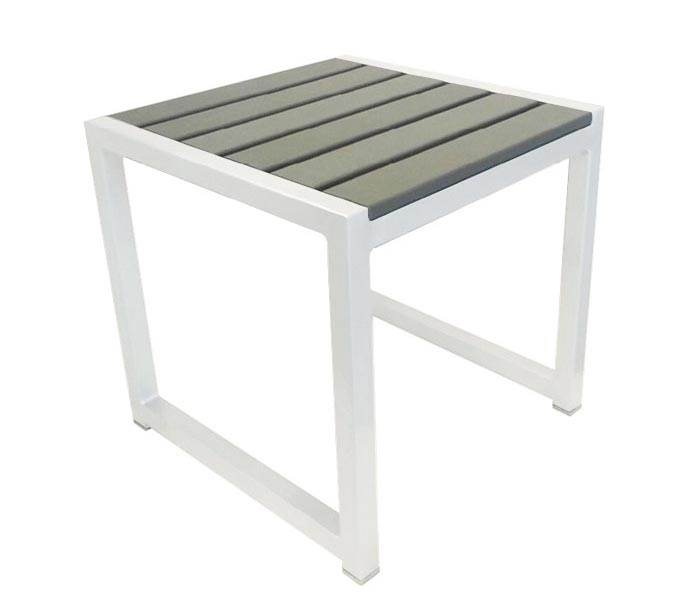 Anacapri White Aluminum And Faux Wood Modern Outdoor Side Table   SOLD OUT