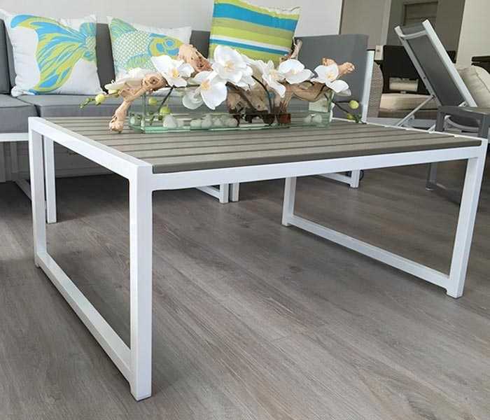 Aluminum Patio Coffee Table: Anacapri White Aluminum And Faux Wood Modern Outdoor