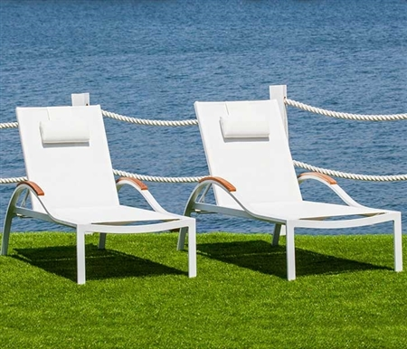 Amanda Modern White Sun Lounger with pillow available at Modern Home 2 Go