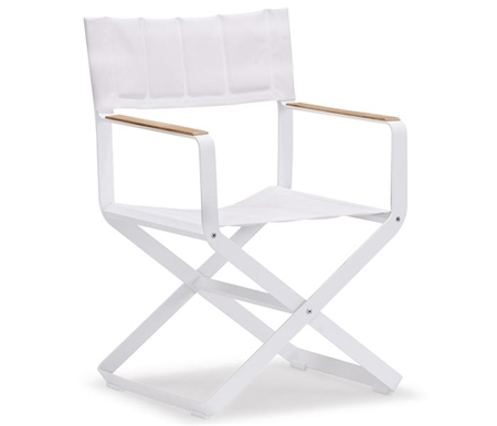 Clint Modern Patio Dining armchair in White Fabric with Teak Accents available at Modern Home 2 Go
