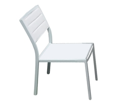 Cori Modern Patio Dining ARMLESS White with Teak accent at Modern Home 2 Go