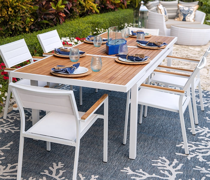 KD Modern Patio Dining White  available at Modern Home 2 Go