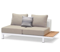 Polo Modern White Aluminum and Teak Outdoor Armless Sofa - Right