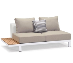 Polo Modern White Aluminum and Teak Outdoor Armless Sofa - Left