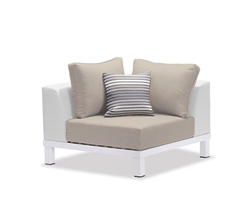 Polo Modern White Aluminum Outdoor Armless Middle Corner Sofa