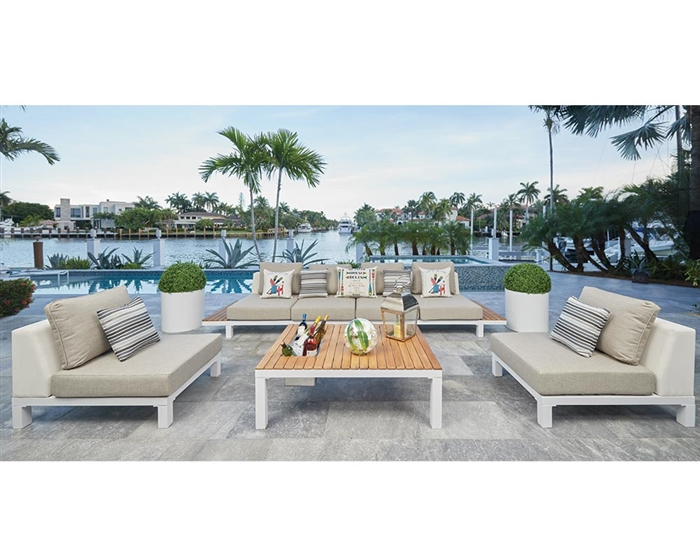 outdoor lounging cori modern white aluminum and teak collection