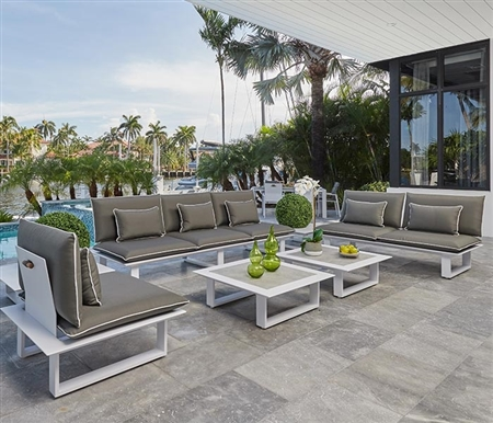 Samosi Modern White Aluminum Outdoor Lounging Collection in GREY