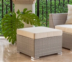 Novara Modern Outdoor Ottoman in Light Grey - Backordered