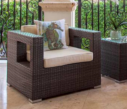 Mallorca Modern Outdoor Single Arm Chair in Light-Grey with Off-White Cushions