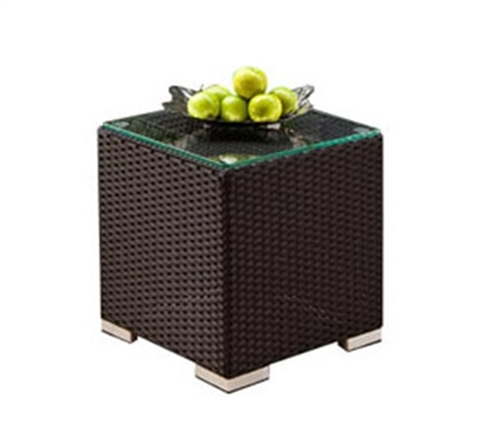 Novara Modern Outdoor Side Table In Espresso - Frosted Glass Top- FINAL SALE