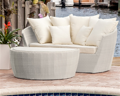 Ibiza Modern Outdoor Bed Lounger Light-Grey (off-white cushions)