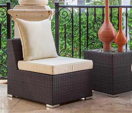 Novara Modern Outdoor Armless Chair in Light-Grey  (off-white cushions)