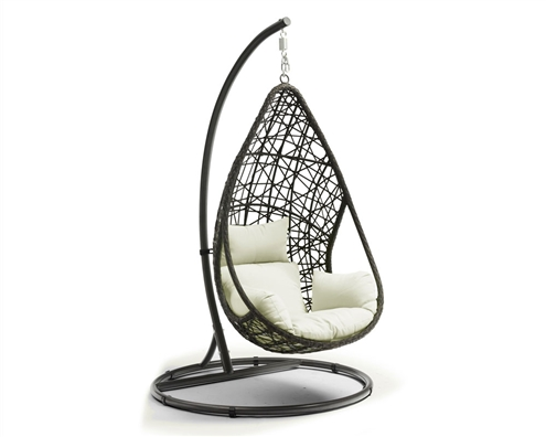 Add a unique piece to your outdoor space with our Bravo outdoor egg chair. Built from grey wicker frame, white seat cushions and a steel stand finished with a powder-coating in White. Completed with side handles to help you get in and out.