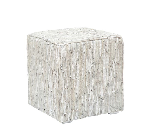 Cardiff Modern Ottoman in Himalayan Fur or White Eco Leather