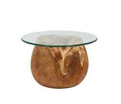 New Teak Root Ball Modern Lacquered Side Table