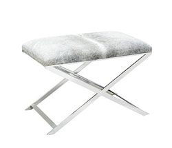 Rimini Modern Cowhide Ottoman with Stainless Steel Base