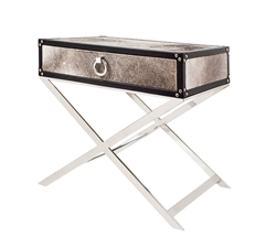 Rimini Grey Cowhide Modern Side Table