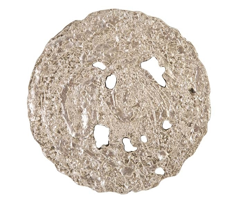 Molten Disc Modern Wall Art - Silver leaf - SMALL