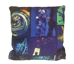 "Magazine Blue Print Modern Pillow 20"" x 20"""