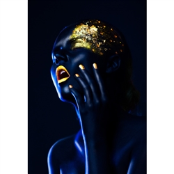 Golden Blue Woman Modern Art