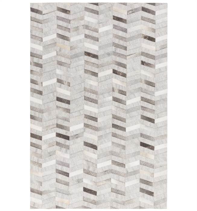 Trail Modern Cowhide Rug Chevron Light Grey Collection