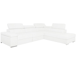 Elysee Modern Sectional in White Leather Right Facing Chaise on Sale