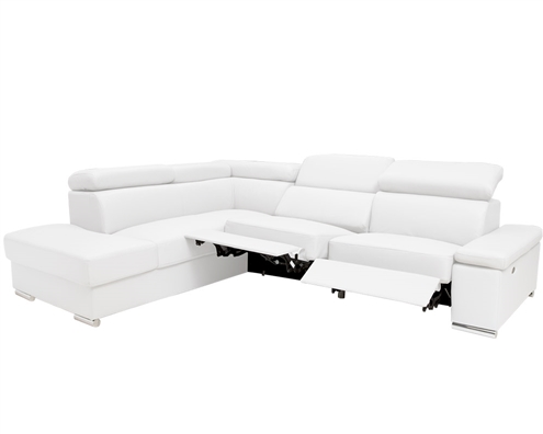 Elysee Modern Sectional in White Leather Left Facing Chaise with Double Recliner