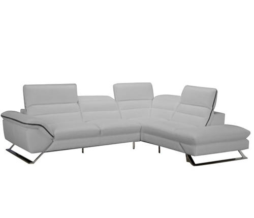 Cosenza Modern Sectional In 100% Grey Leather
