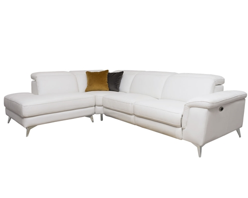 Marsala Modern Sectional Ultra-white with DOUBLE RECLINER (Left Facing Chaise)