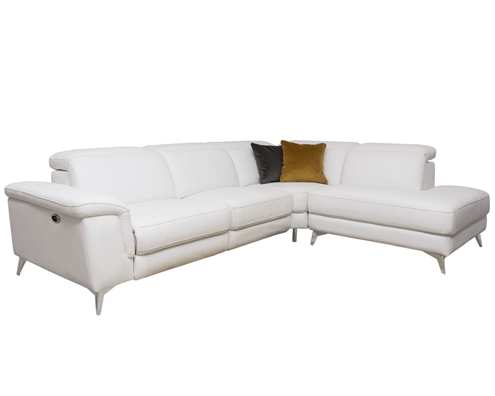 Marsala Modern Sectional Ultra-white with DOUBLE RECLINER (Right Facing Chaise)