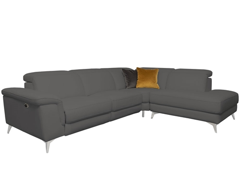 Marsala Modern Sectional Grey with DOUBLE RECLINER (Right Facing Chaise)