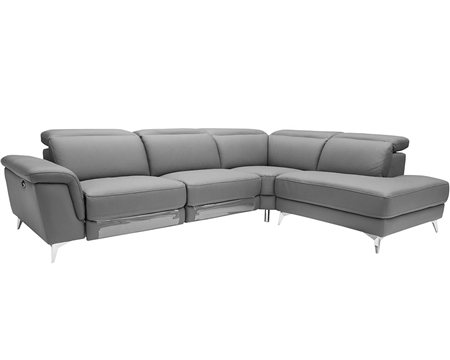 Marsala Modern Sectional LIGHT GREY  with DOUBLE RECLINER (Right Facing Chaise)