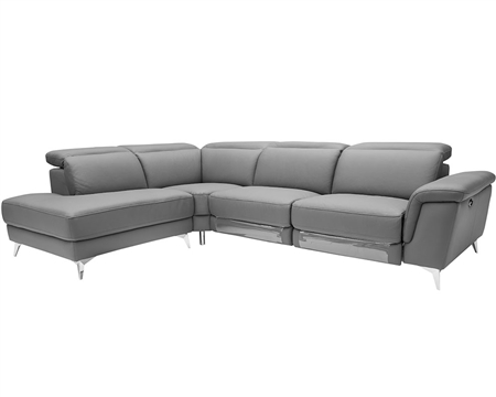 Marsala Modern Sectional LIGHT GREY with DOUBLE RECLINER (Left Facing Chaise)