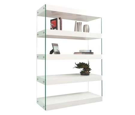 Ultra-modern nighstand finished in white lacquer with tempered glass legs