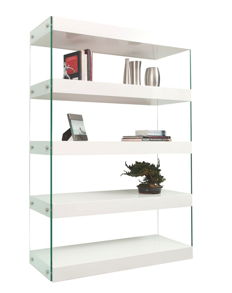 Ultra Modern Nighstand Finished In White Lacquer With Tempered Gl Legs
