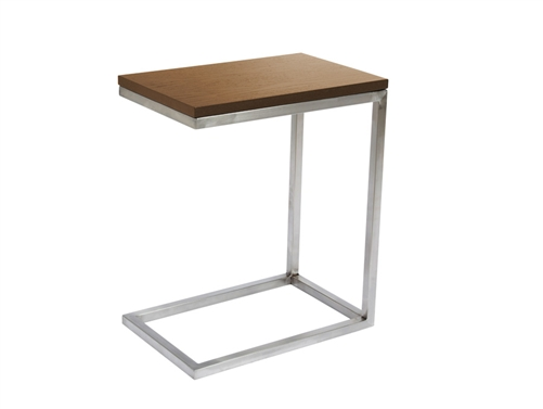 Modern side table with stylish chrome legs and base