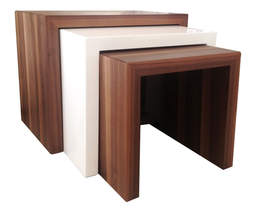 Contemporary nesting tables, available in all white, walnut-white-wenge or wenge-white-walnut order